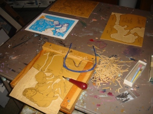 Cutting & Carving Linoleum Plates for Multicolor Print