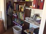 closet and bookshelf