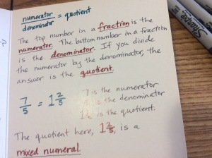 fraction numerator denominator quotient mixed numeral